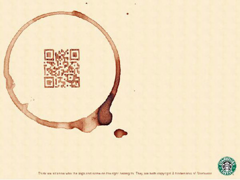 QR Code with coffee ring